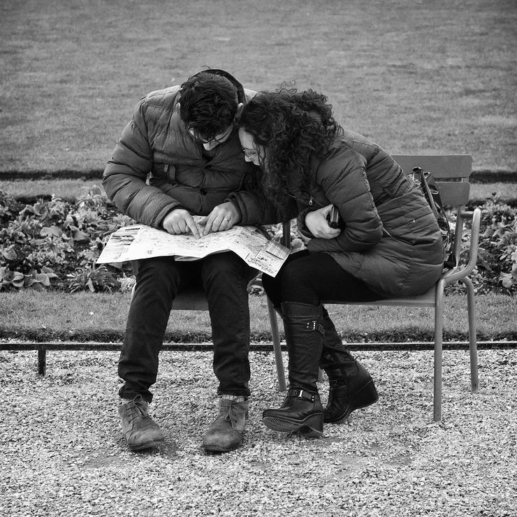 Toi et moi perdu dans un jardin public