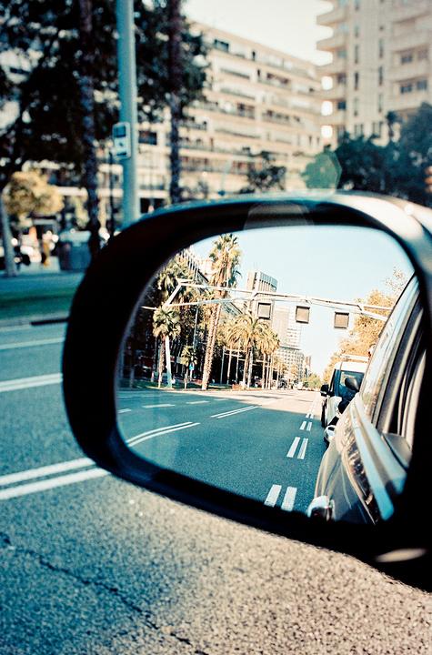 Avenue Diagonal dans le rétroviseur