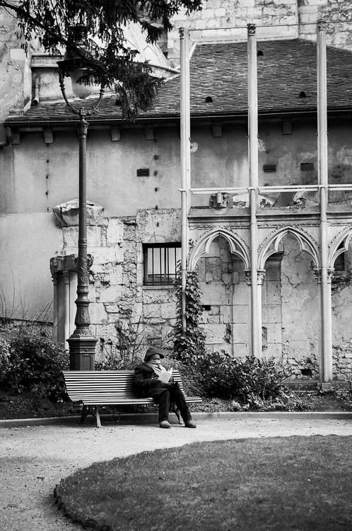 Lecture au calme derrière l'abbaye