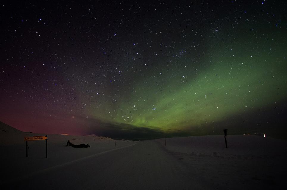Sur la route E10 / Aurore boréale / Flakstad / Lofoten / Norvège