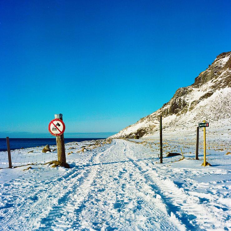 Snow beach - Unstad - lofoten islands- Norway