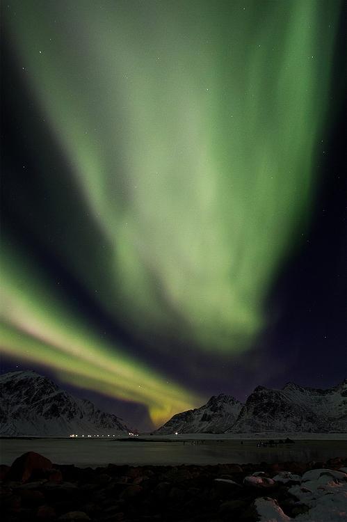Aurore boréale / Flakstad / Lofoten / Norvège