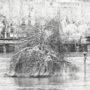 Le saule pleureur est inondé et sous la neige